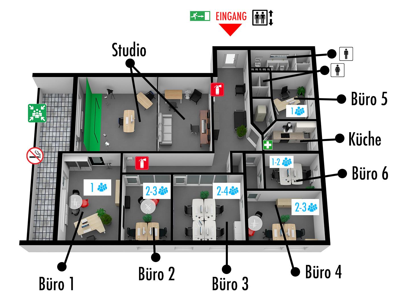 Raumplan der Mietbüros in Idstein